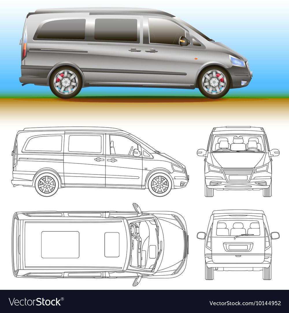 Van template commercial vehicle blueprint vector image malvernweather Images