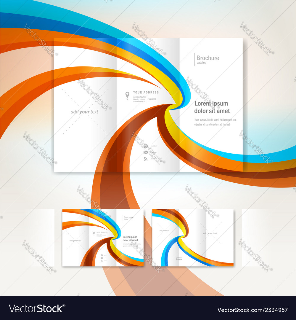 Brochure wave design template folder leaflet