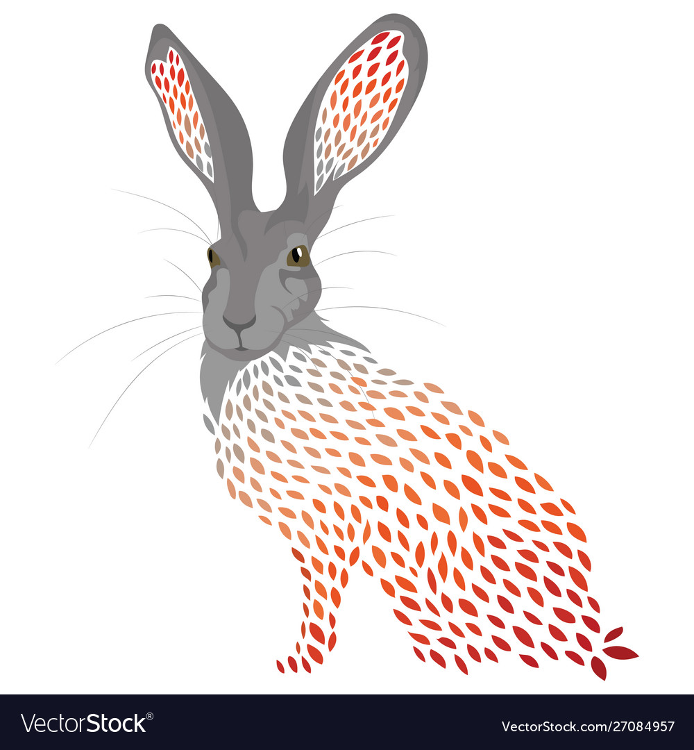Cartoon hare stylized wild hare colored