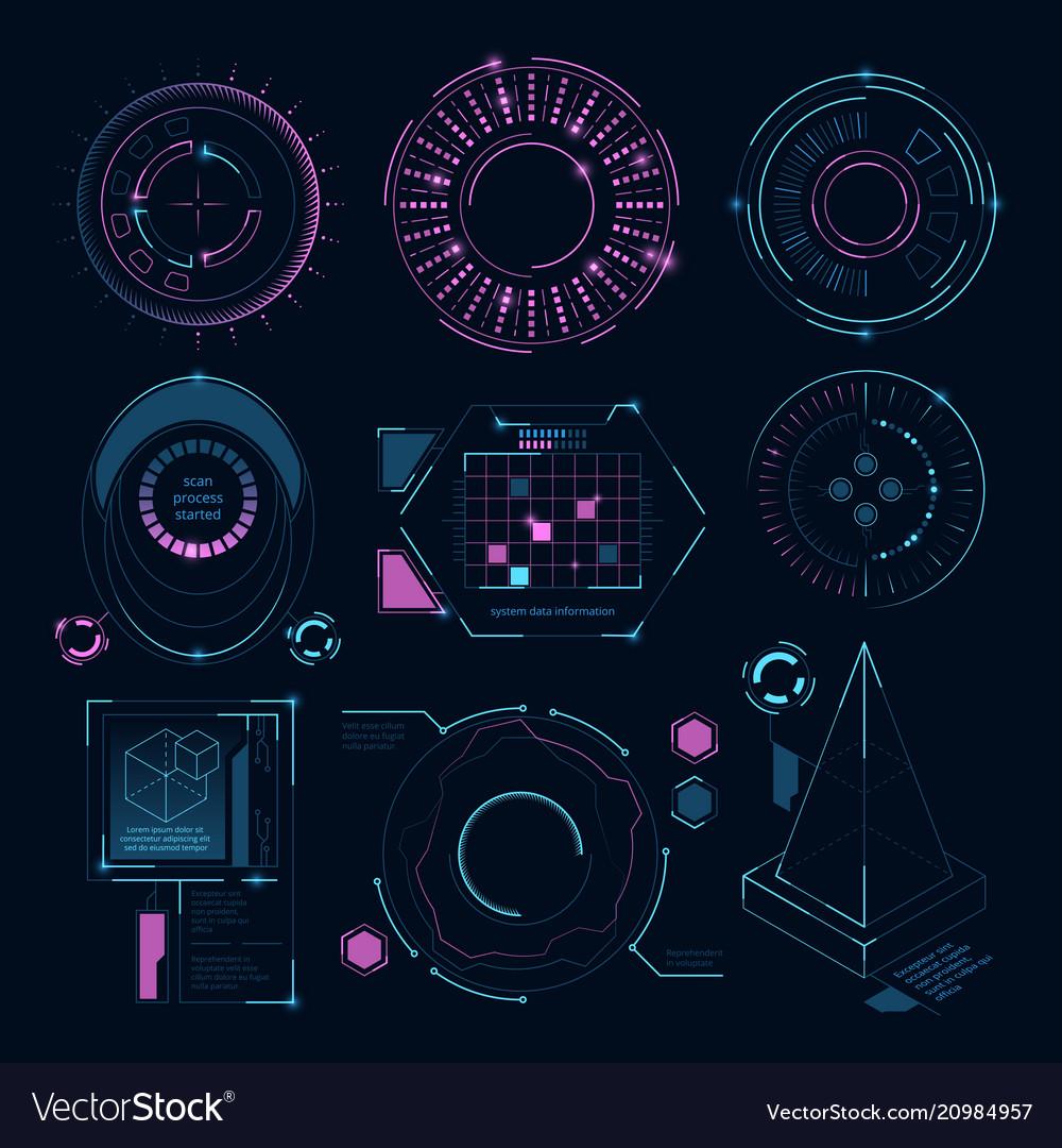 Circle futuristic shapes for digital web interface