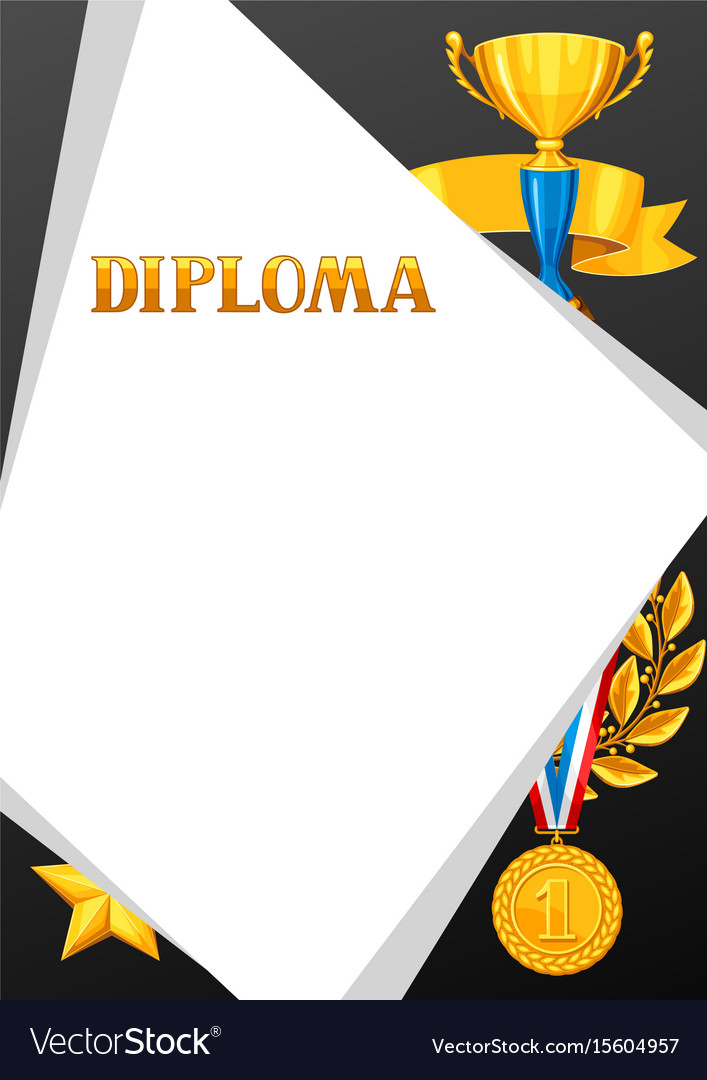 Diploma with realistic gold awards certificate
