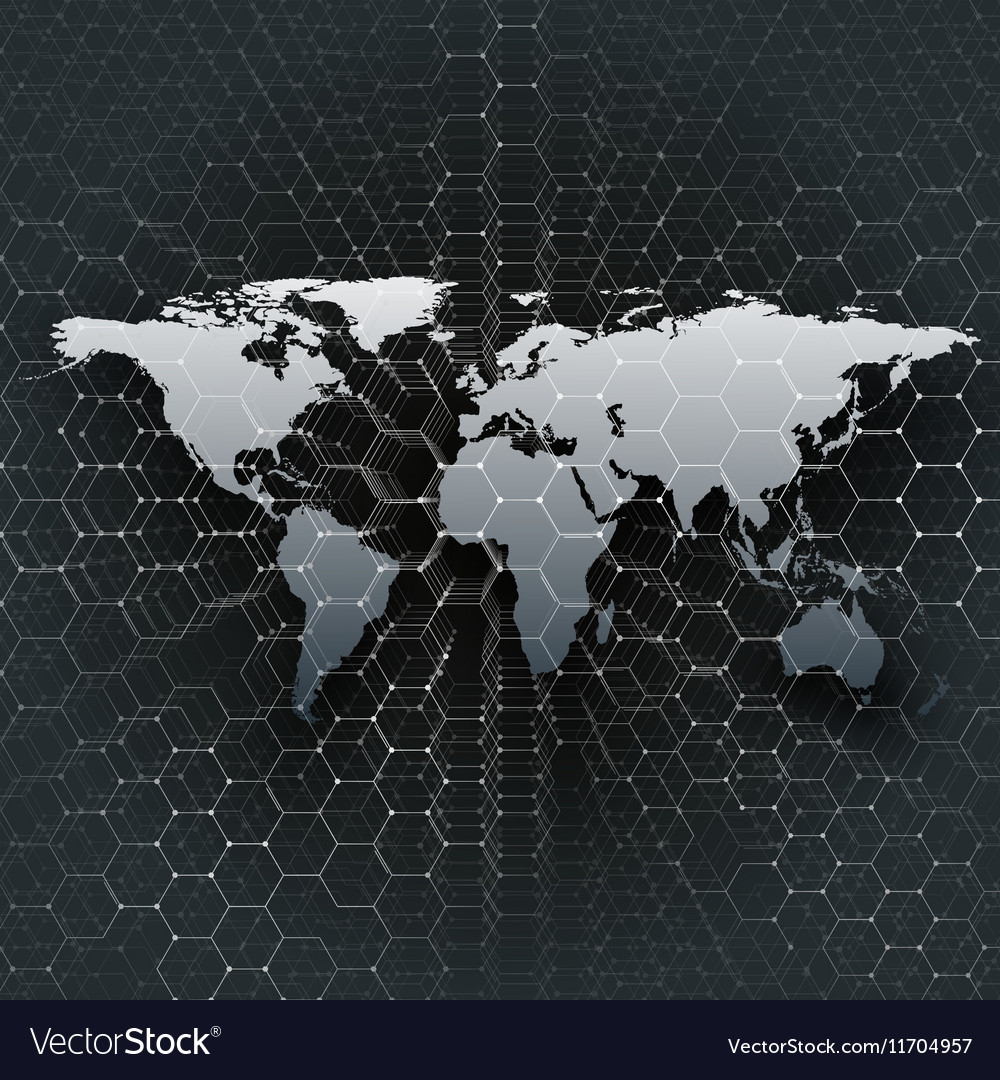 Gray world map connecting lines and dots on black vector image