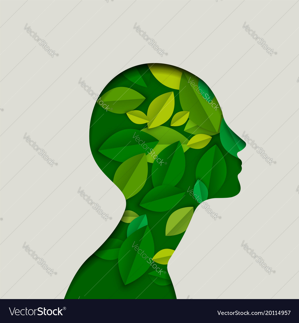 Green paper eco friendly woman face with leaves
