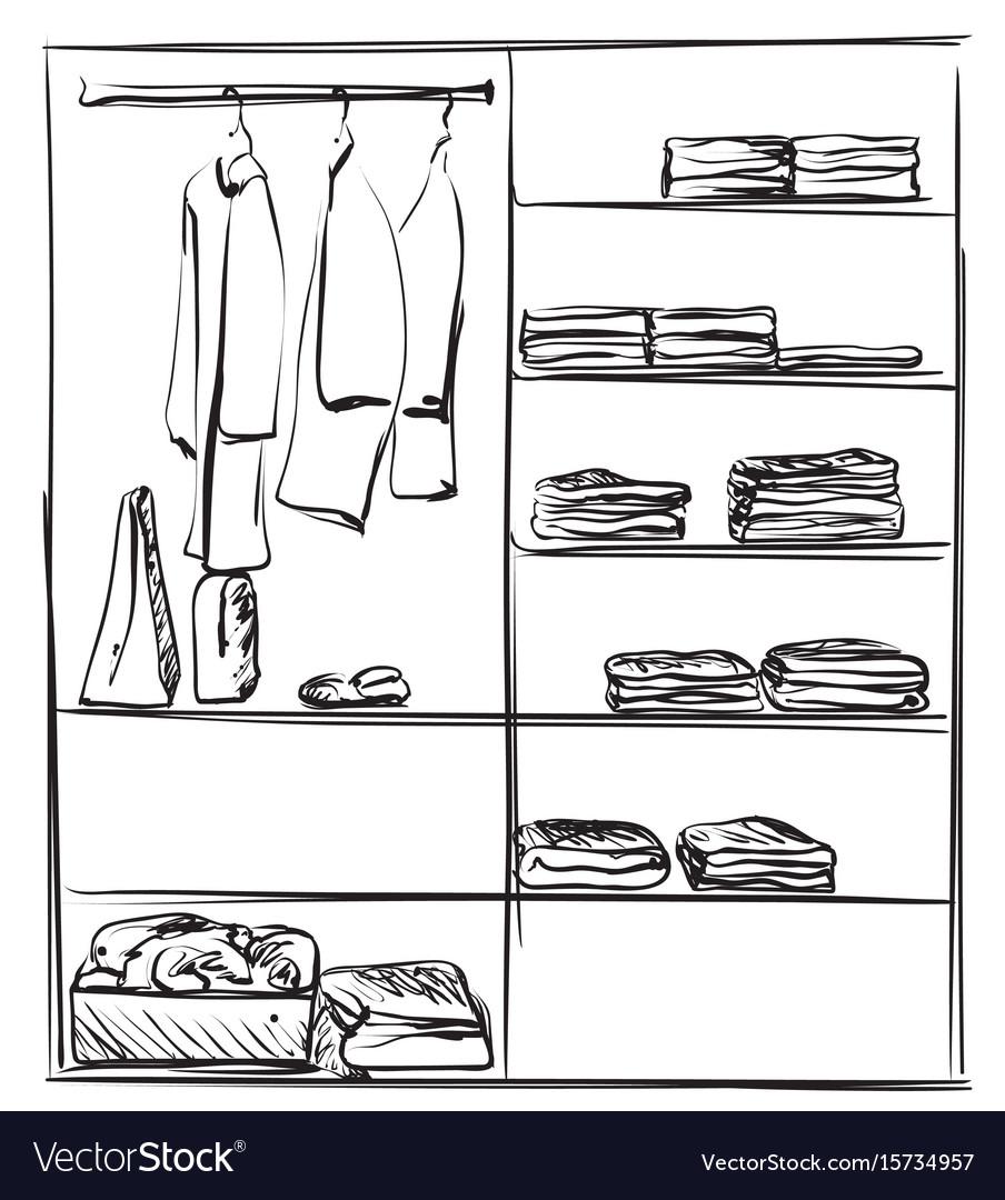 картинка раскраска шкаф с одеждой того