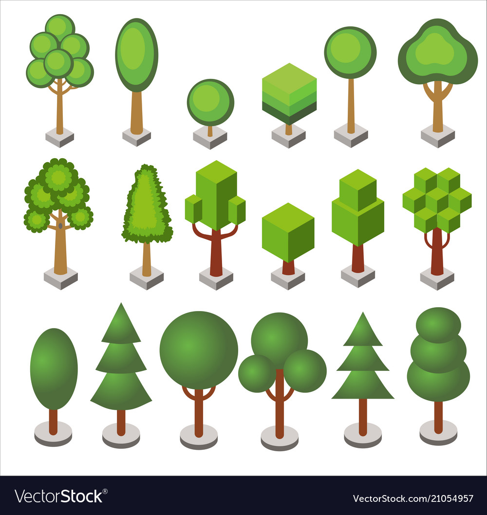 Isometric cartoon set of forest and city park