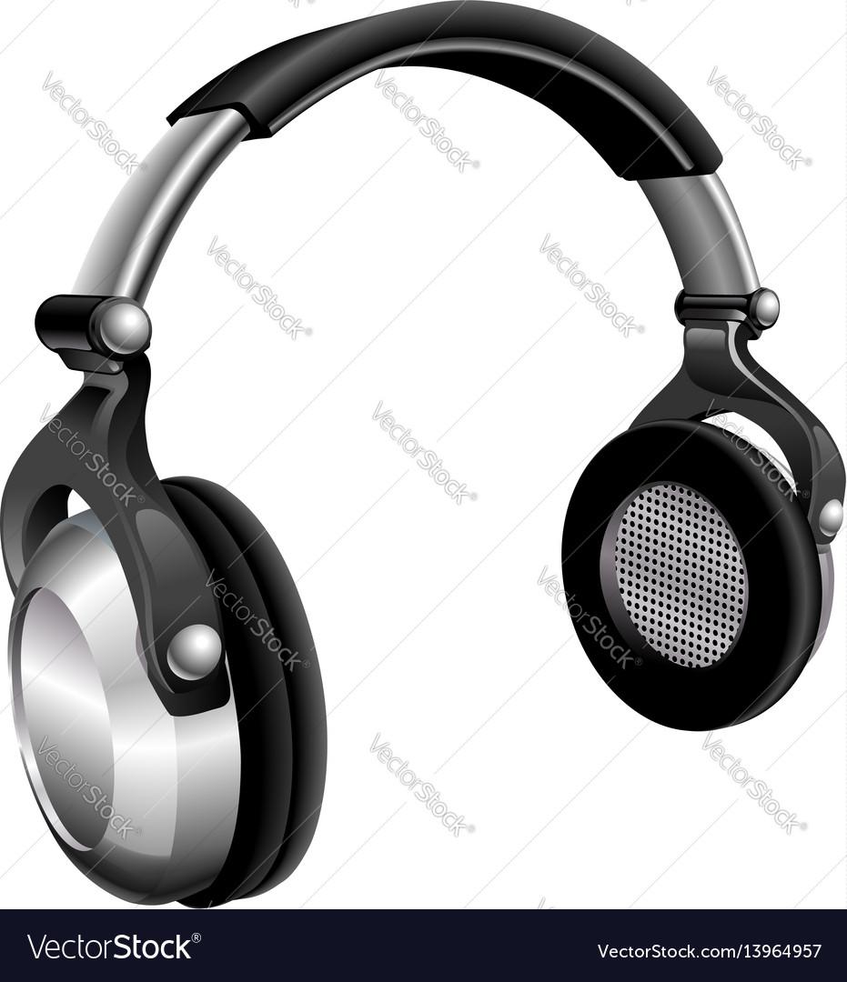 Large dj headphones vector image