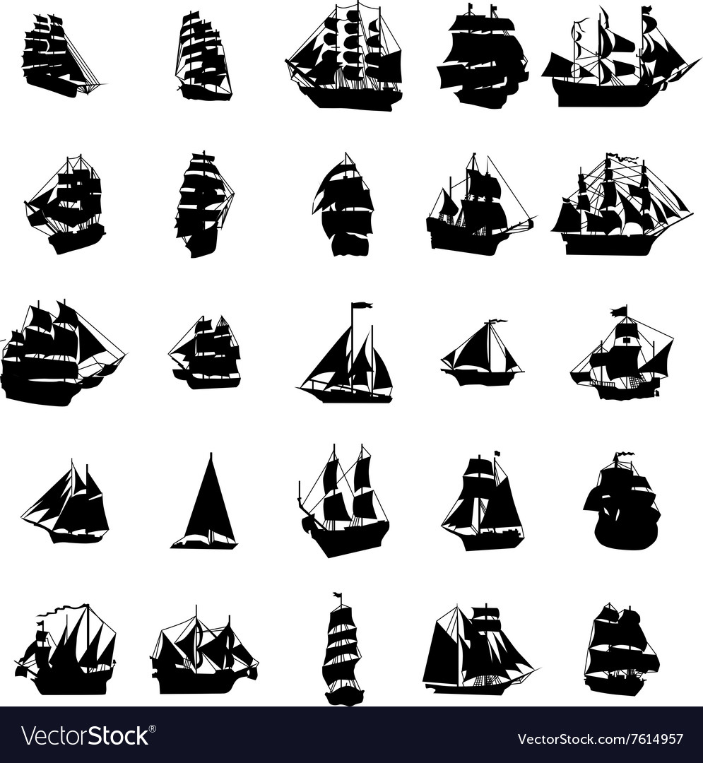 Sailing ship silhouette set