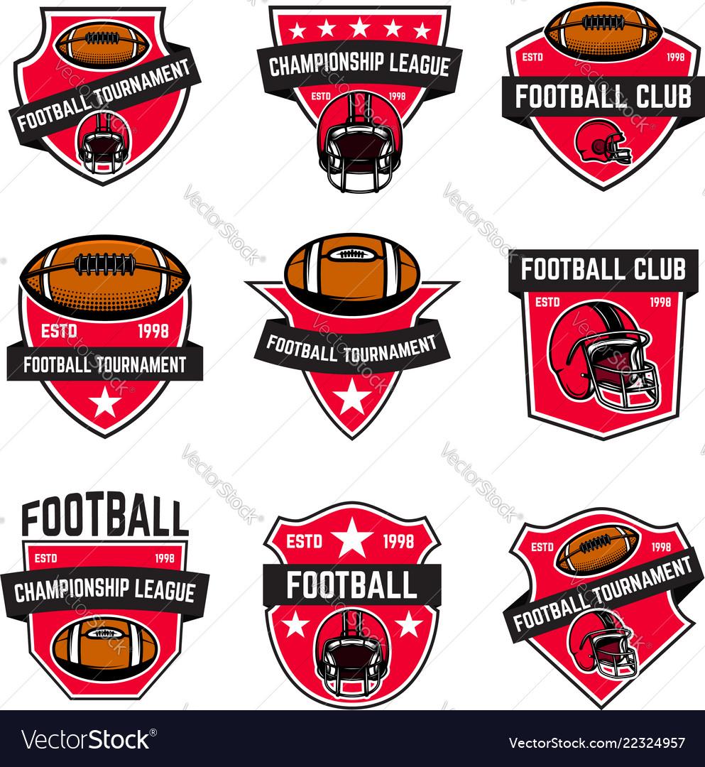 Set of american football emblems design element