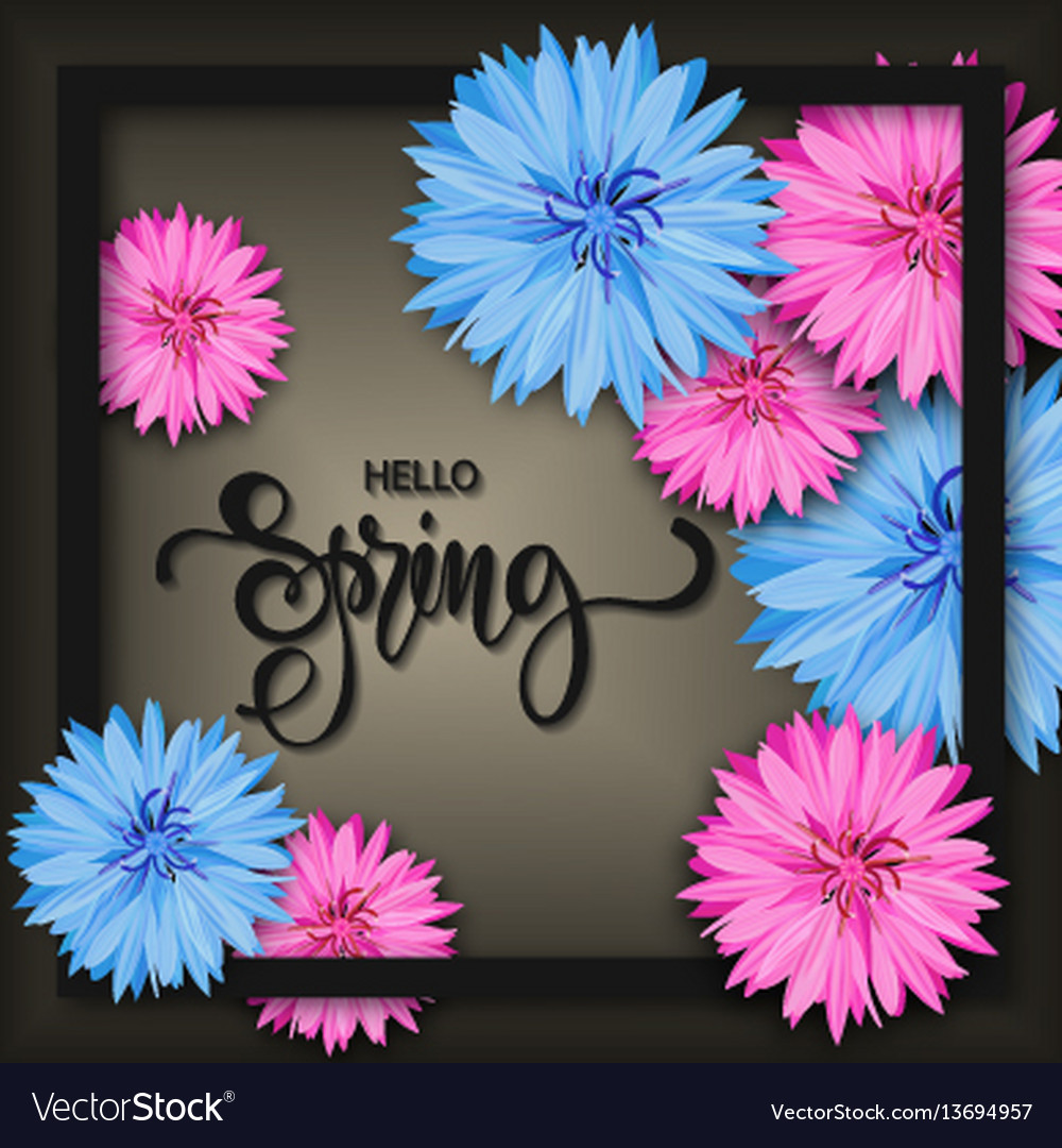 Spring background with beautiful flowers greeting