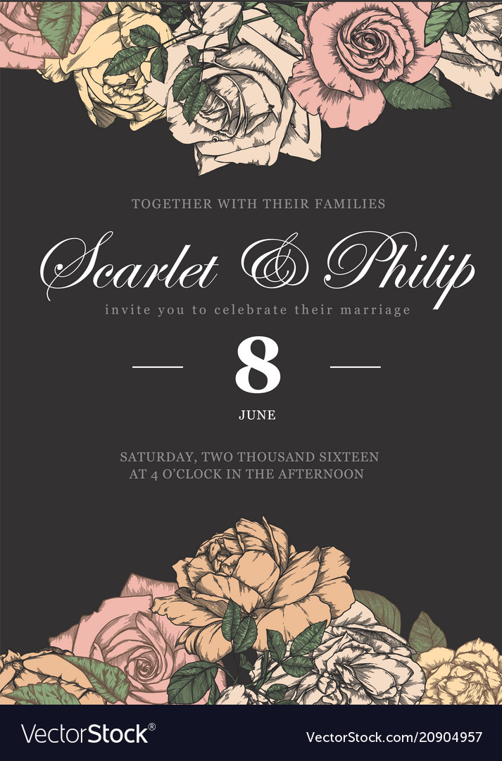 Wedding card with vintage flower templates