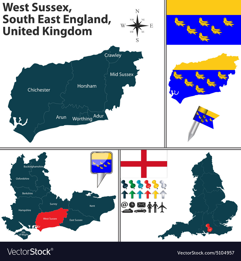 West Sussex South East England Royalty Free Vector Image