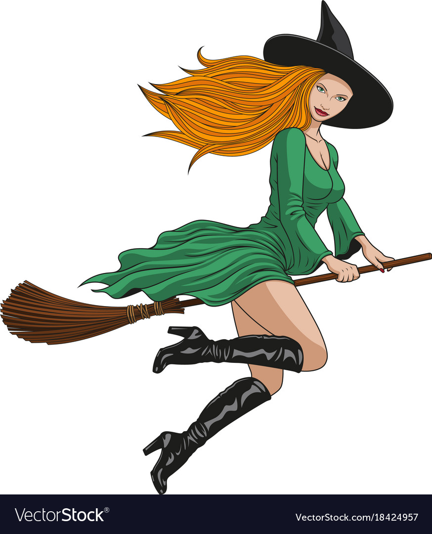 Witch on a broomstick in halloween