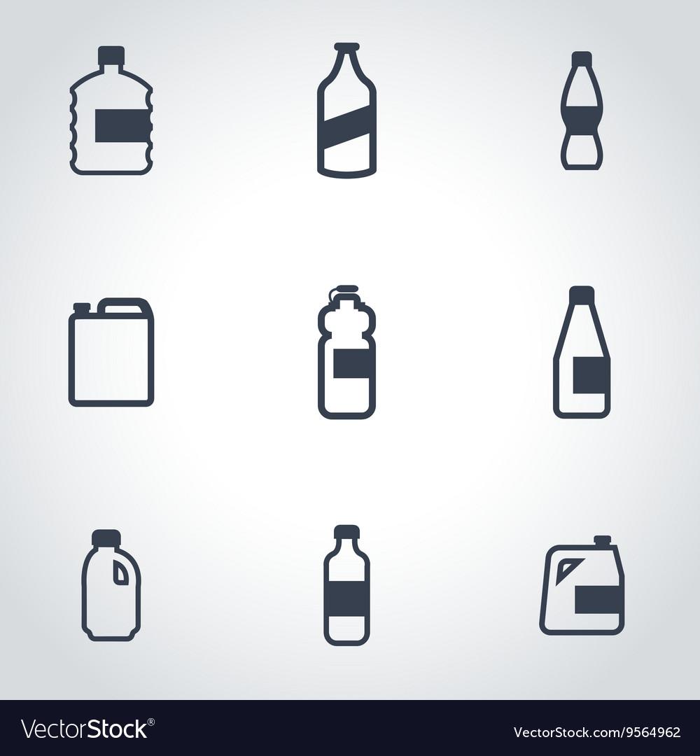 Black bottles icon set