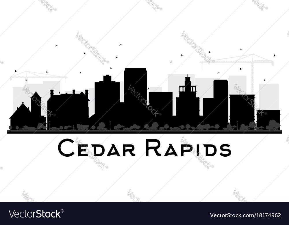 Cedar rapids iowa skyline black and white