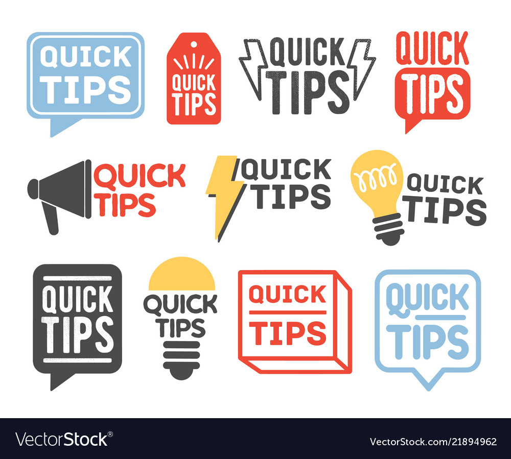Collection of quick tip badges isolated on white