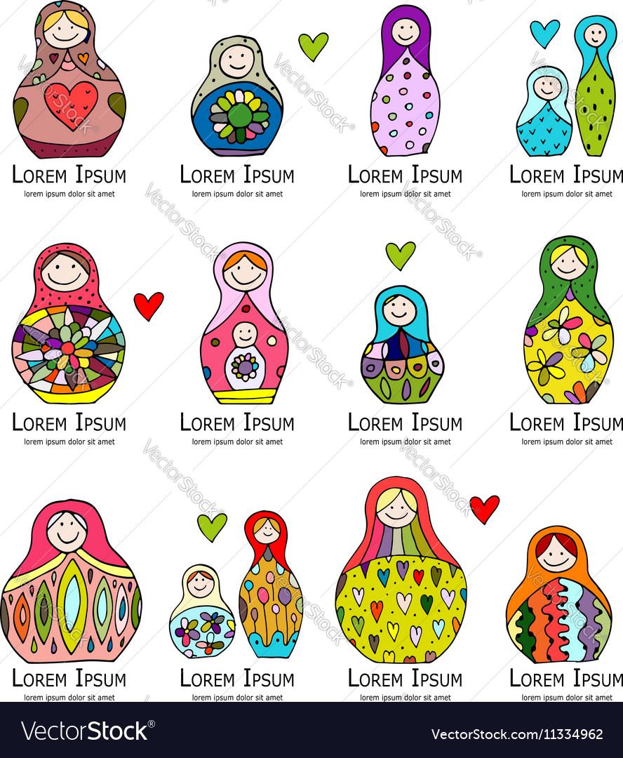 Collection of russian nesting dolls Matryoshka