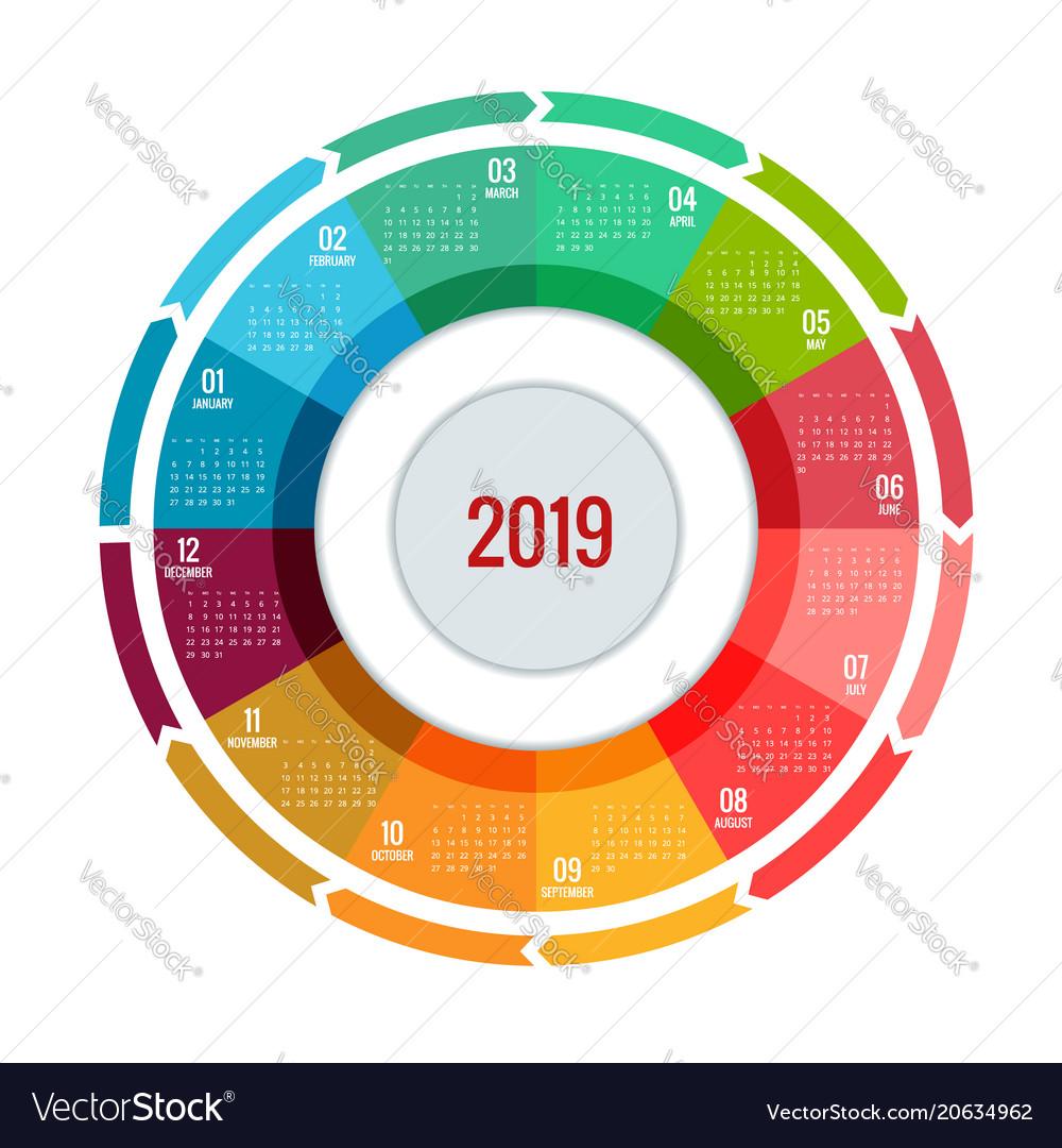 Round Calendar Design : Colorful round calendar design print vector image