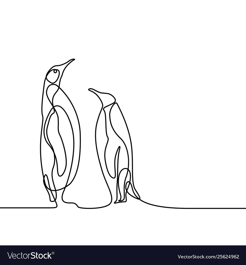 Continuous line drawing two penguins stand