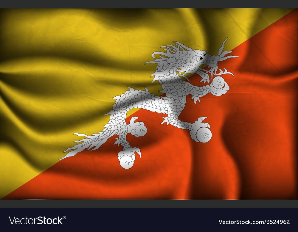 Crumpled flag of Bhutan on a light background