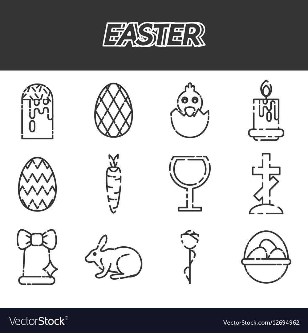 Easter icons set over white