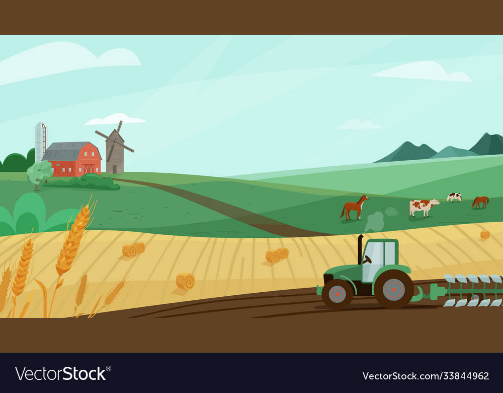 Farm landscape with green