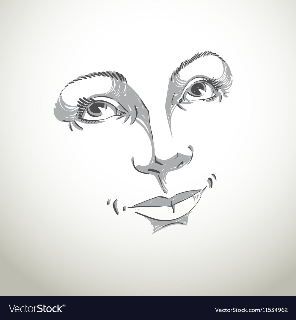 Hand-drawn of woman face black and white mask with