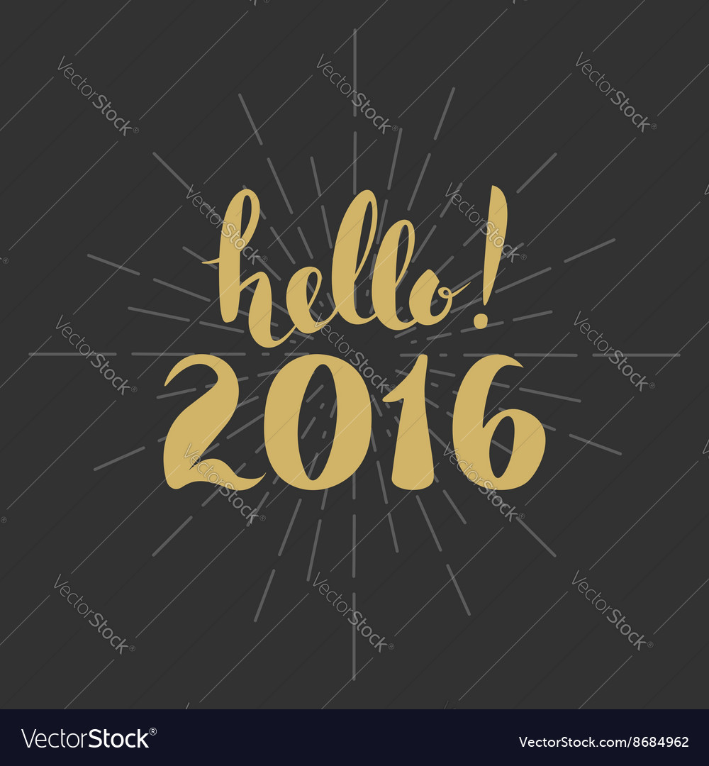 Hello 2016 year vector image
