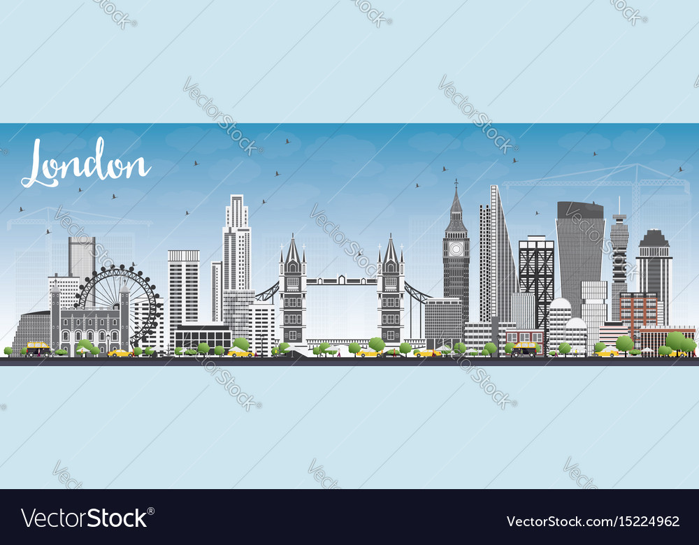 London skyline with gray buildings and blue sky