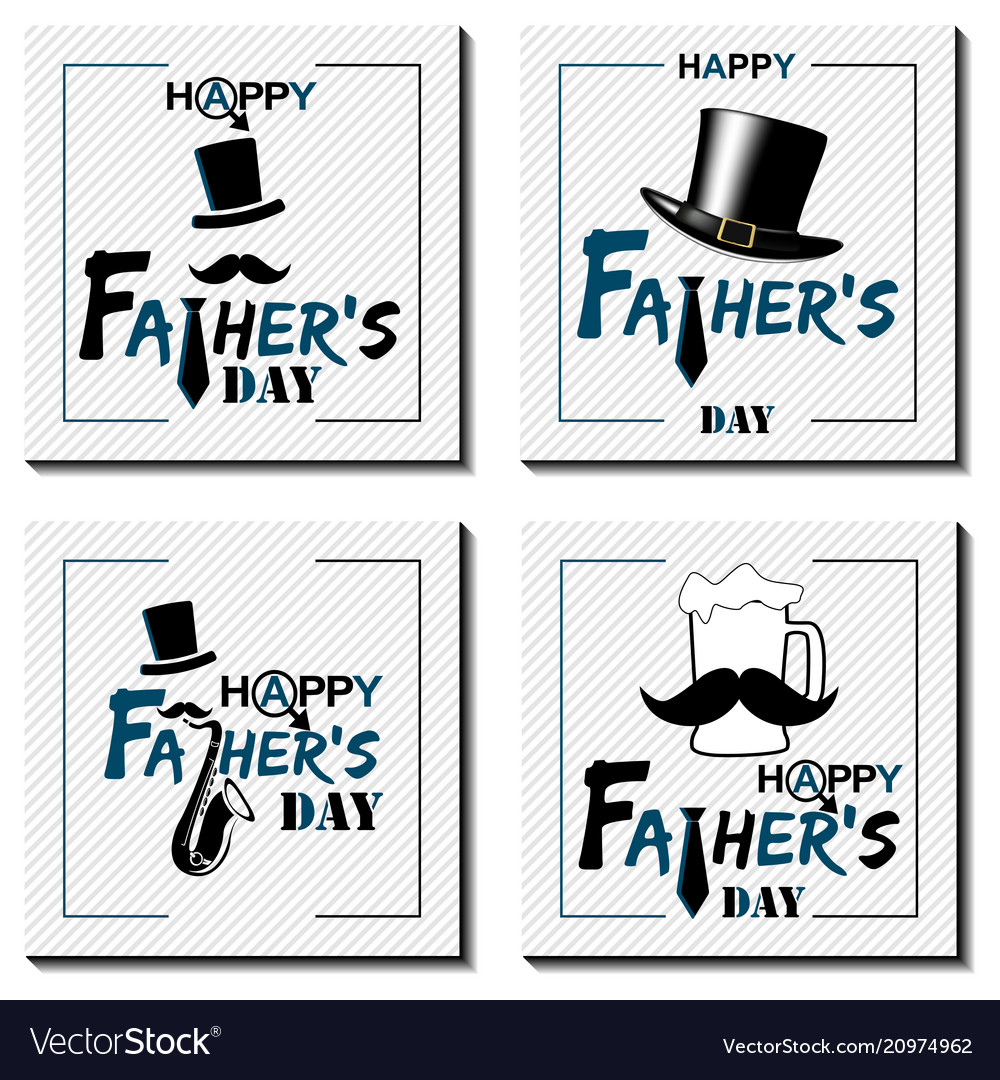 Set of happy father s day lettering cards happy