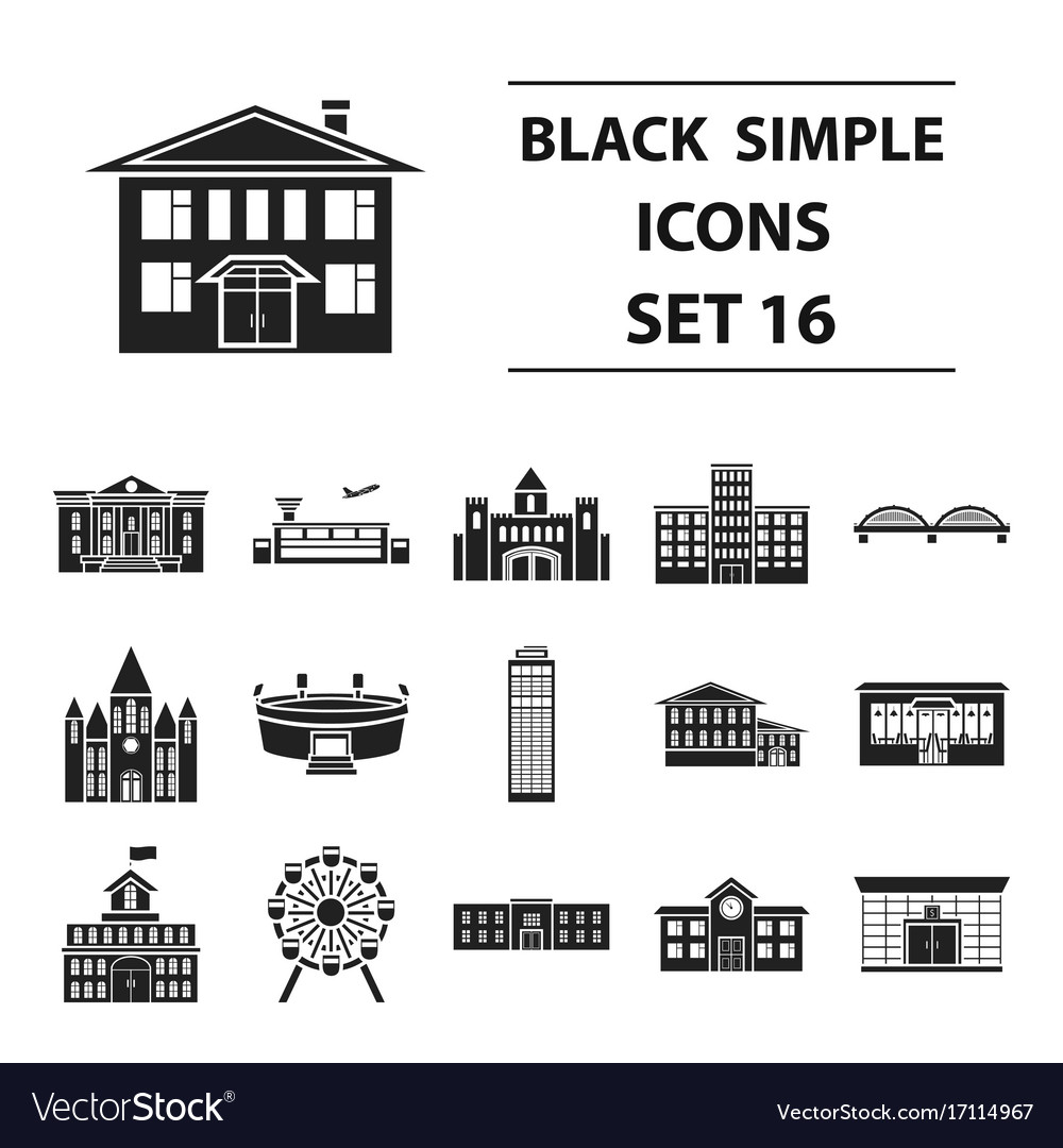 Building set icons in black style big collection
