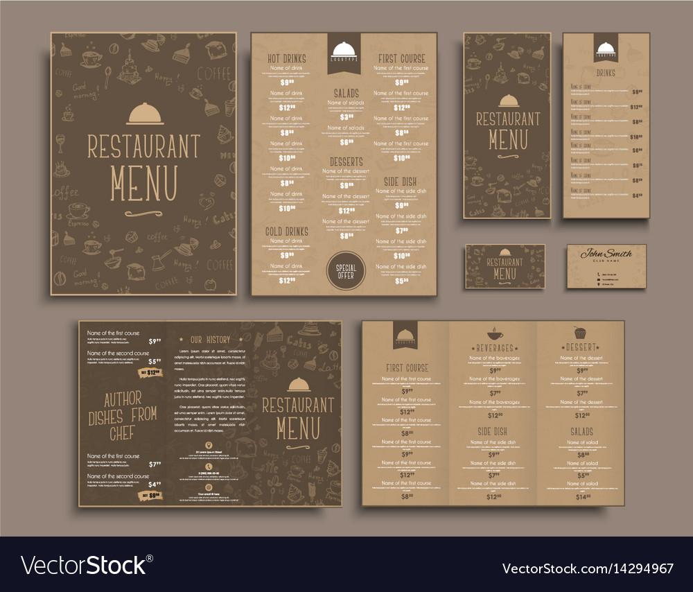 design a4 menu retro folding brochures flyers for vector image