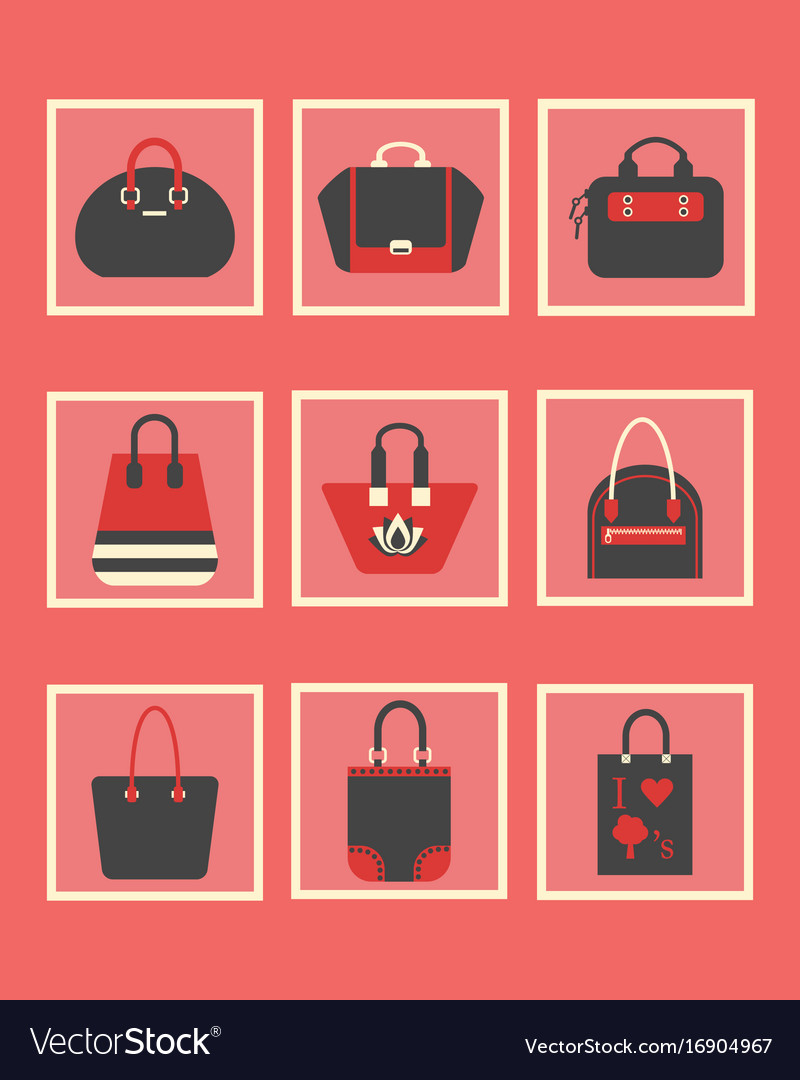 Feminine red purses and hand bags icons set Vector Image 59a5db4df4