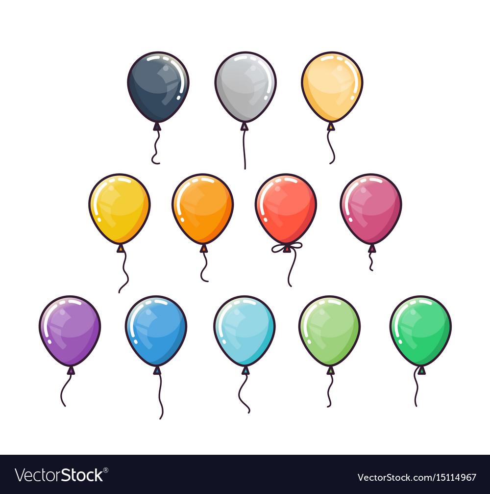 Flat colorful balloons set vector image