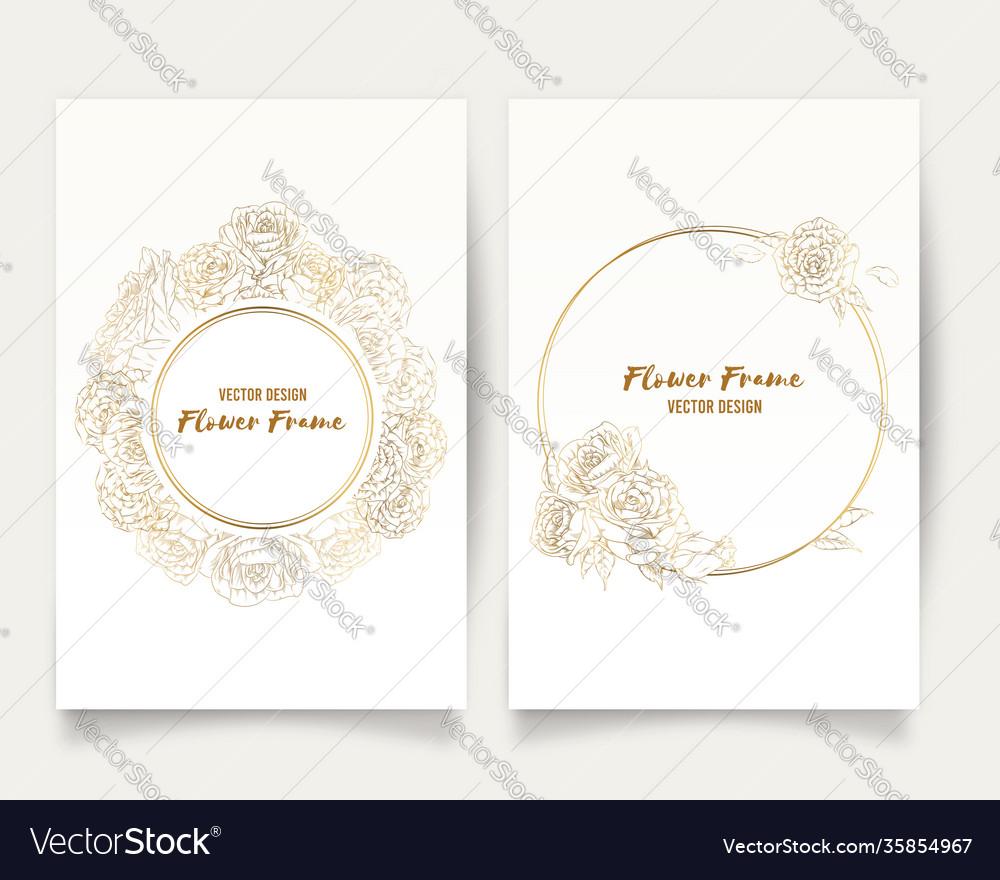 Frame hand drawn rose golden flower floral