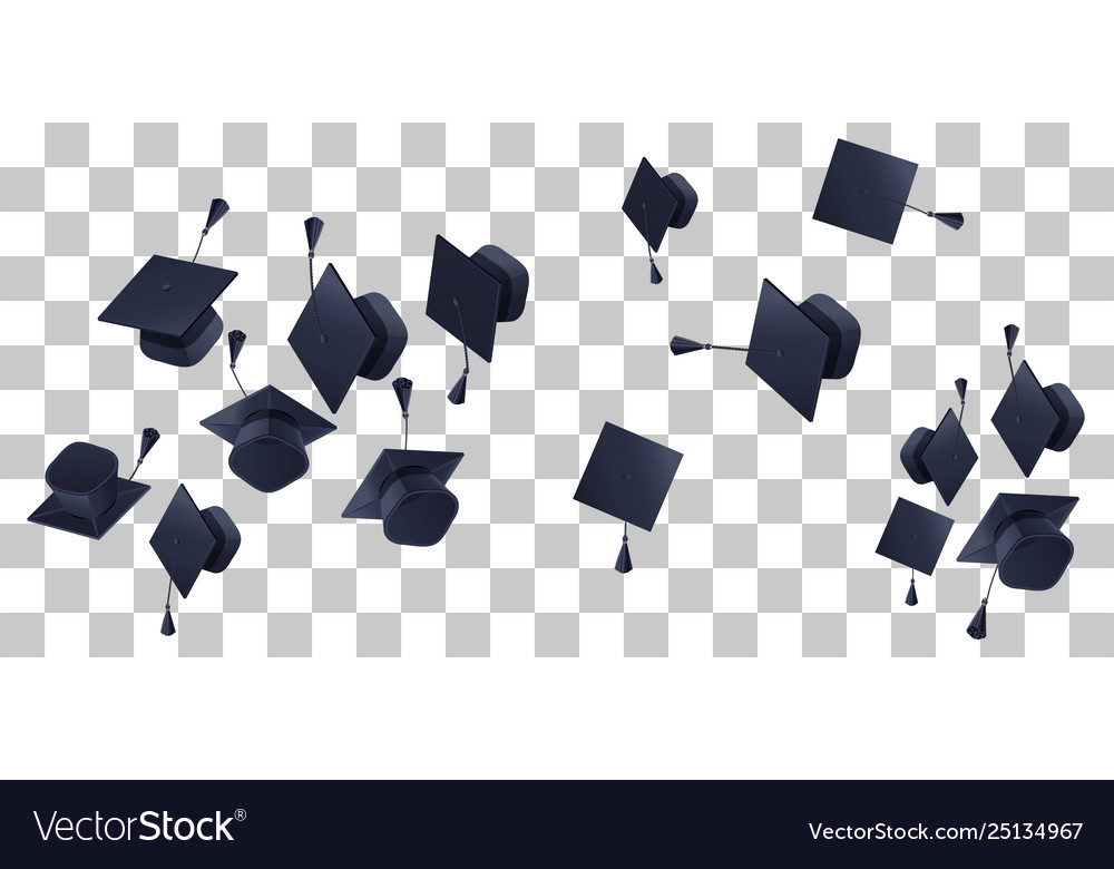 High school graduation hats mortarboard fly up on