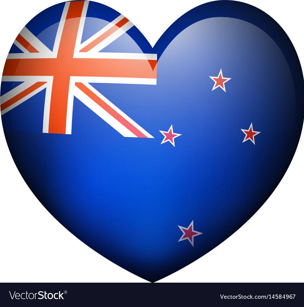 New zealand flag in heart shape