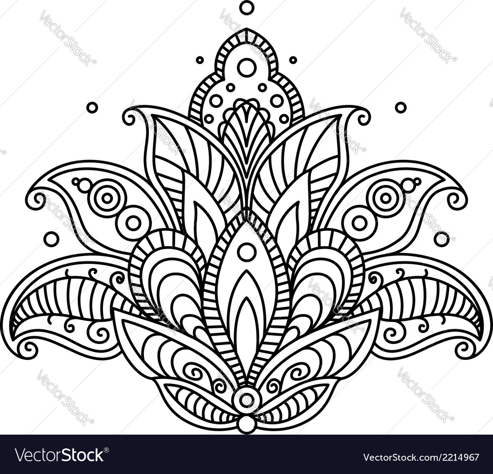 Pretty ornate paisley flower design element vector image mightylinksfo