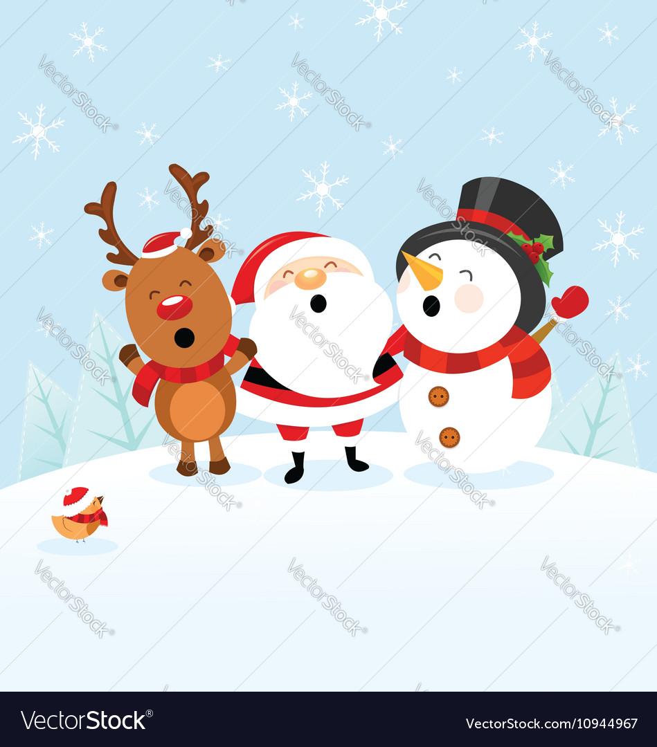 Santa Snowman Reindeer Celebrating Christmas