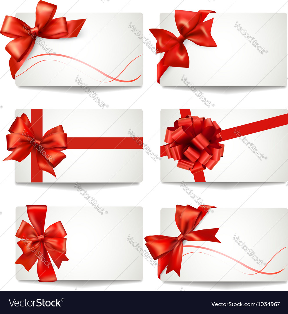 Set of gift card notes with red bows and ribbons vector image negle Gallery