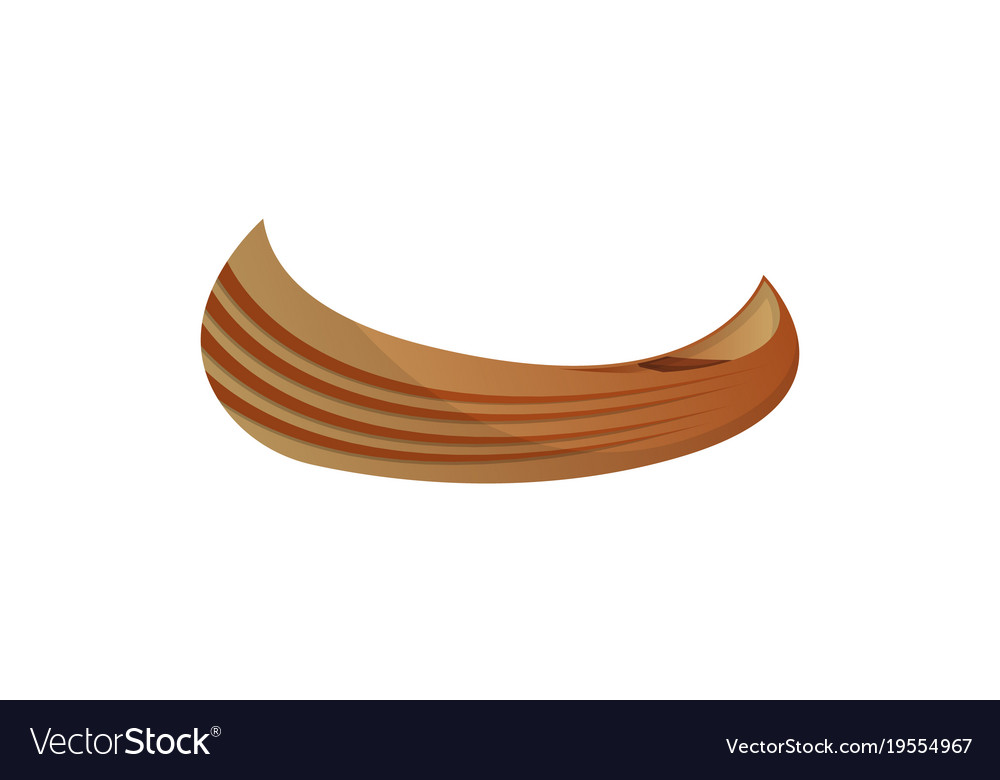Side View Wooden Canoe Isolated Icon Vector Image