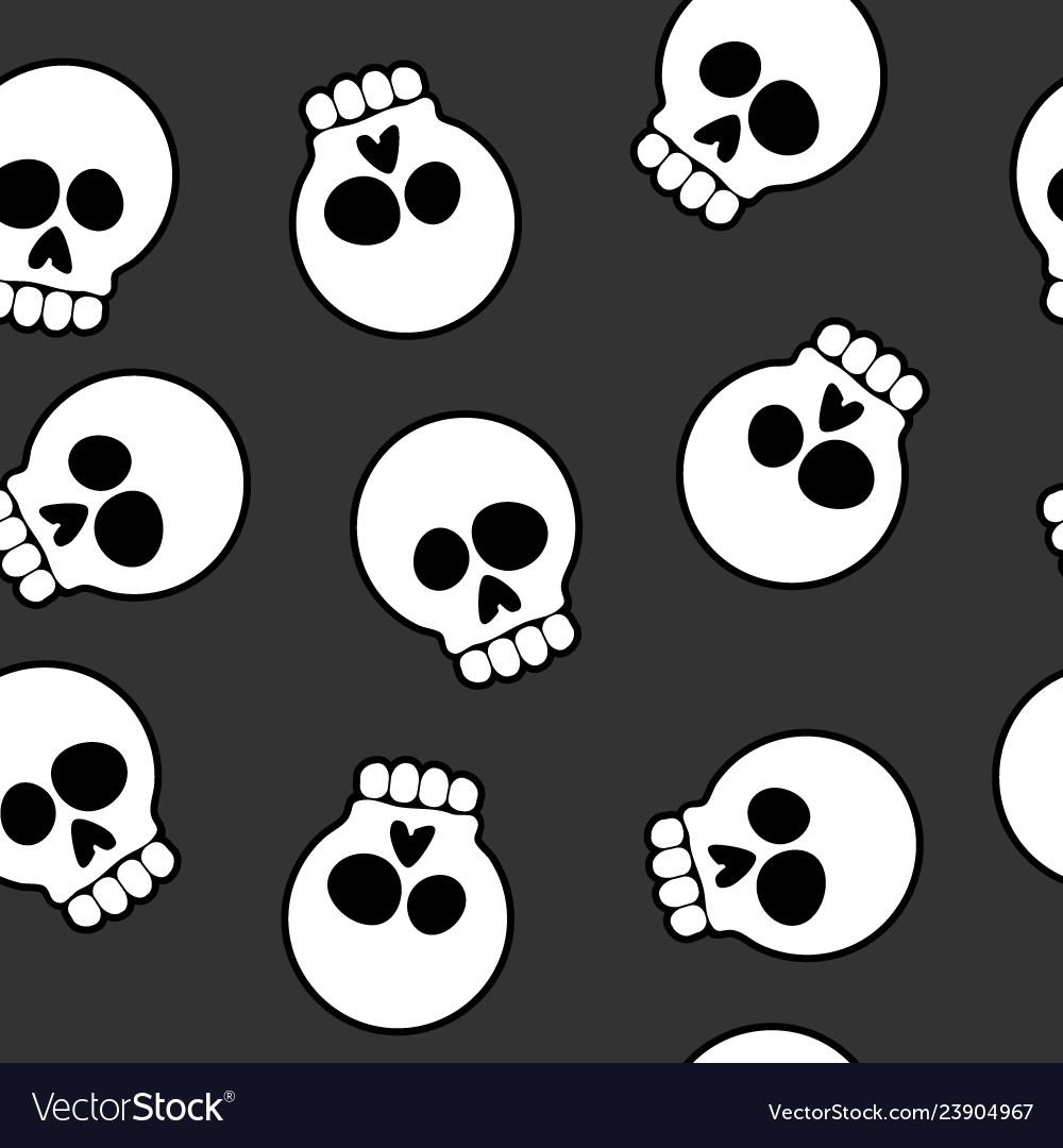 Skull cartoon seamless pattern background