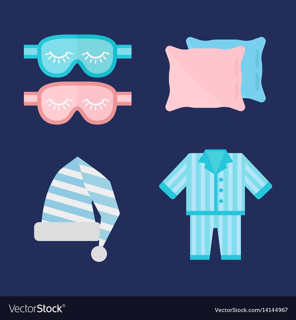 Sleep pajamas icon bed sign vector image