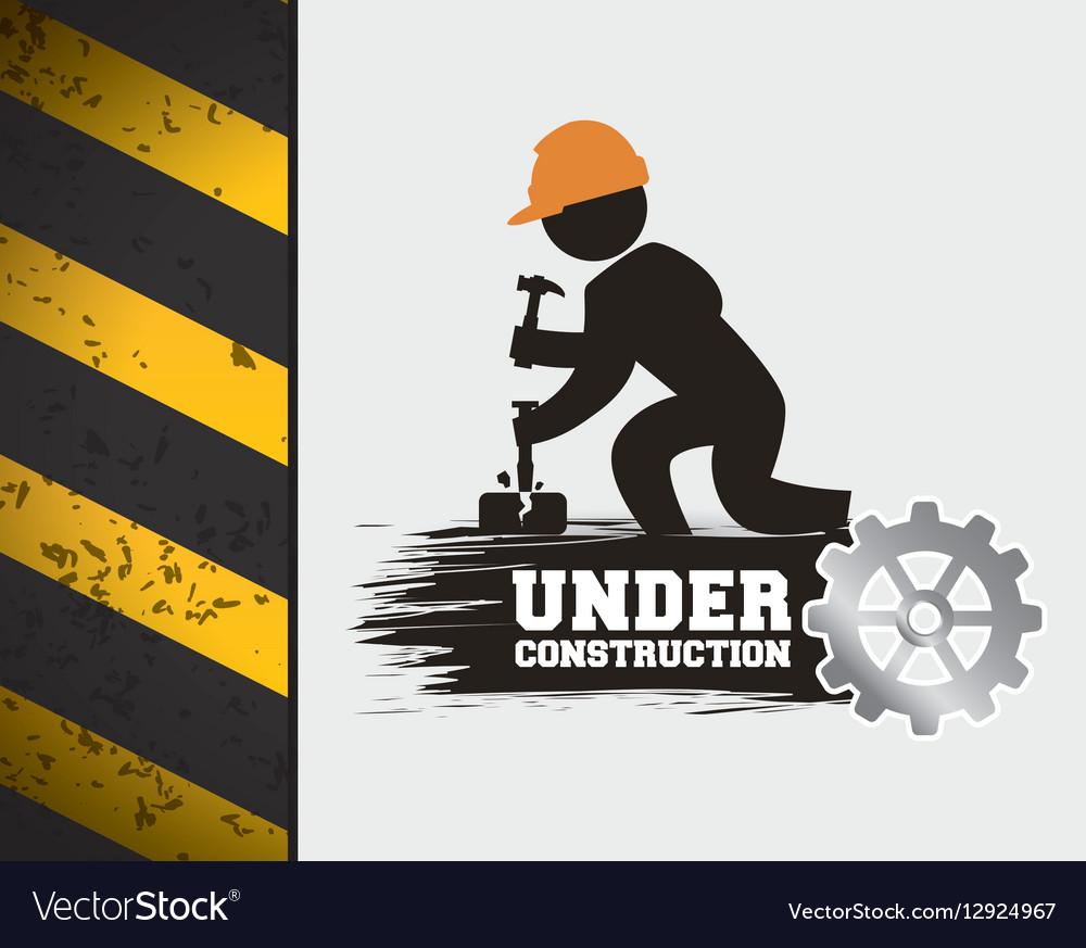 Under construction poster worker hammer gear
