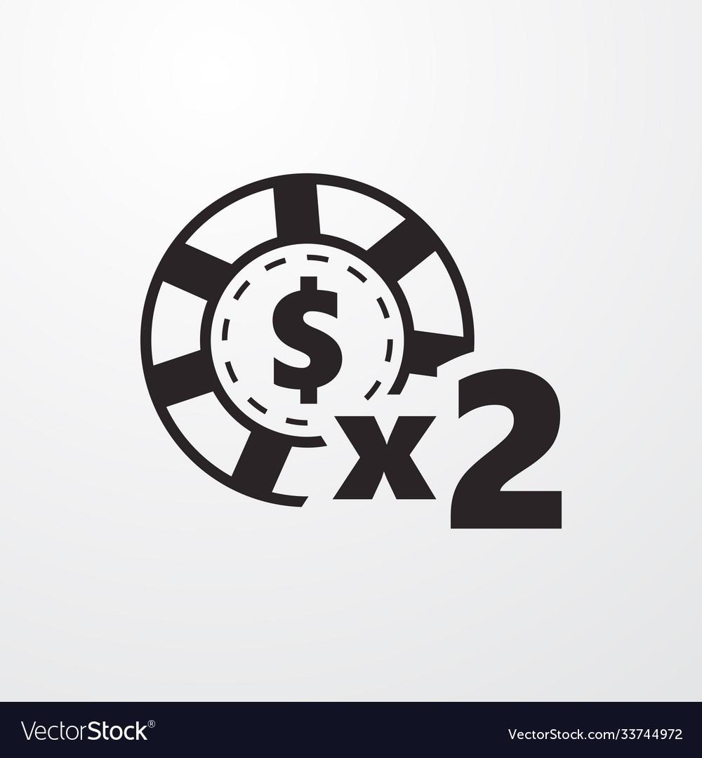 Casino chip x2 bonus sign icon chip x2