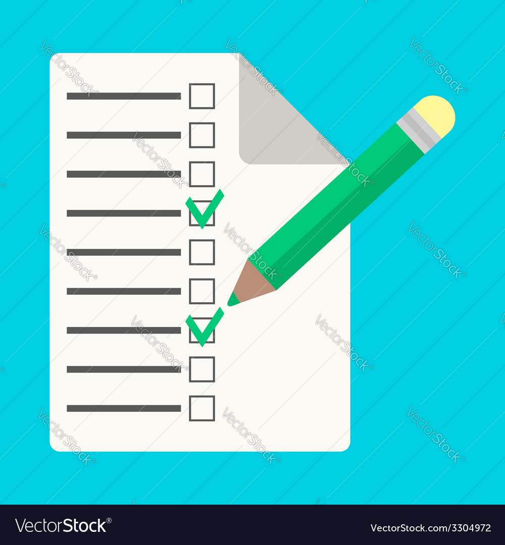 Checklist with pencil in flat style