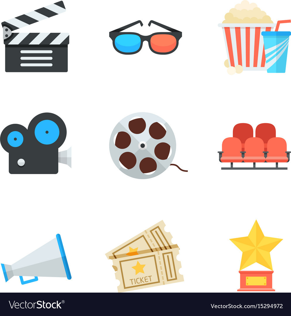 Cinema icons set in flat style