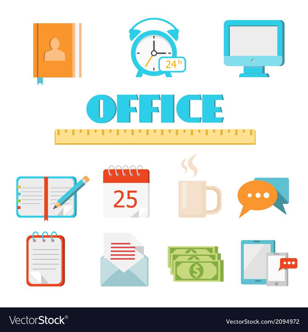 Flat office icon set