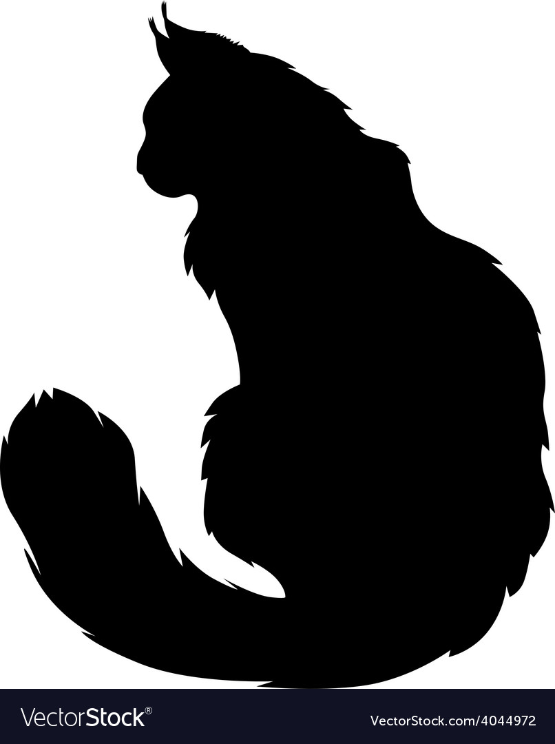 furry cat silhouette royalty free vector image rh vectorstock com cat dog silhouette vector dog cat silhouette vector free