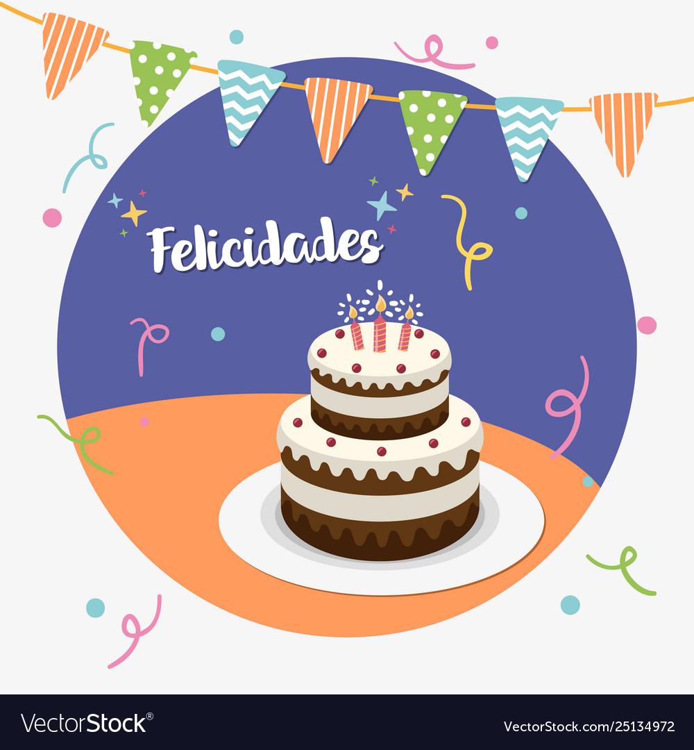 Happy birthday party spanish greeting card