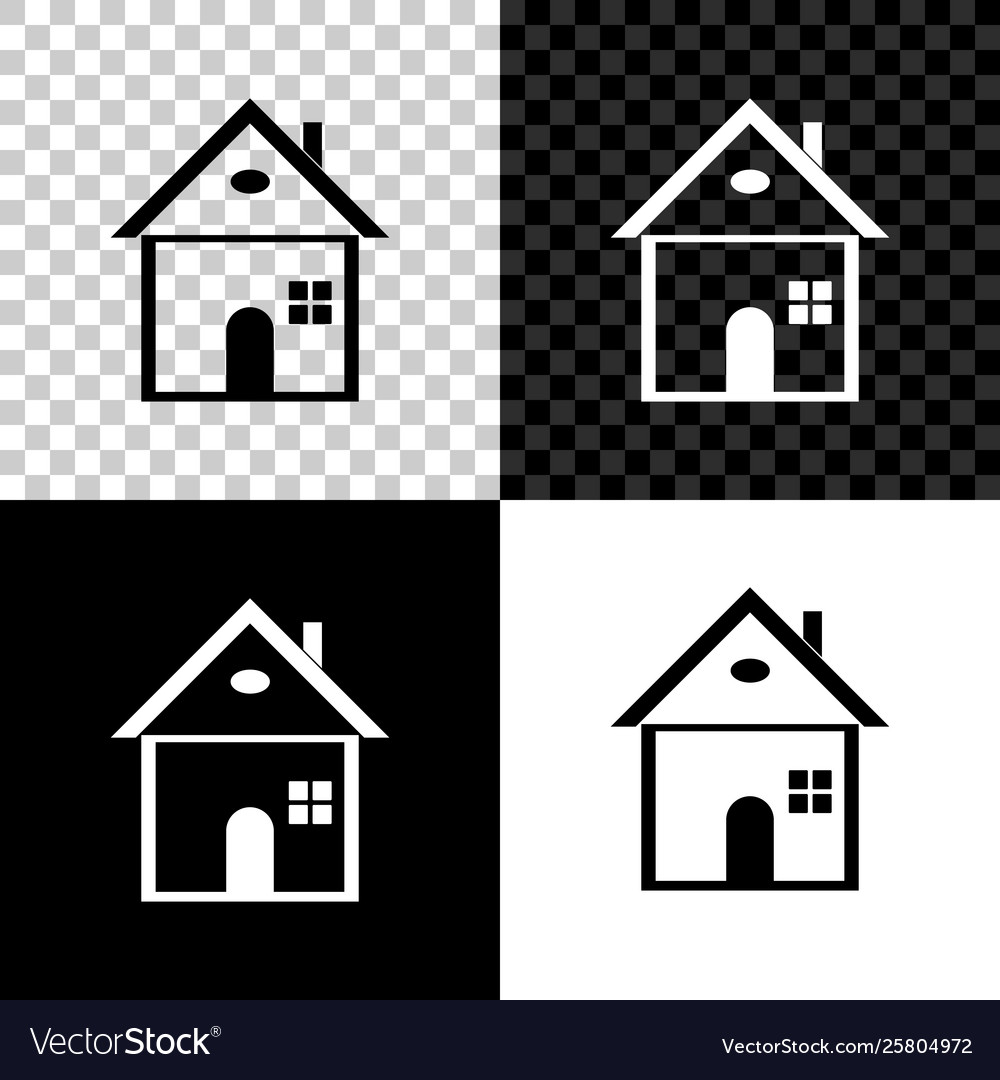 7a8649290cbb House icon isolated on black white and Royalty Free Vector
